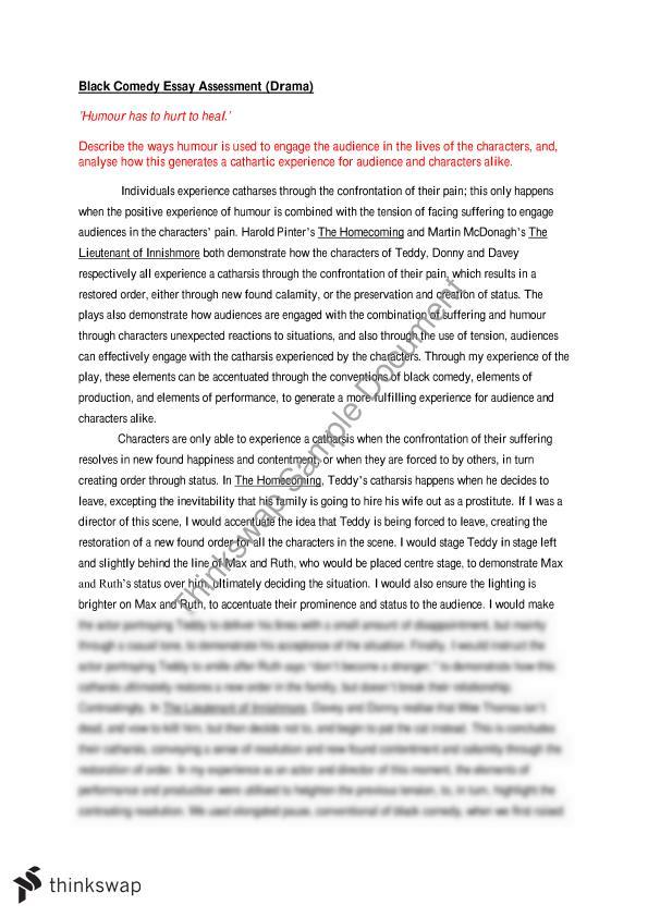 Black Comedy Essay | Year 12 HSC - Drama | Thinkswap