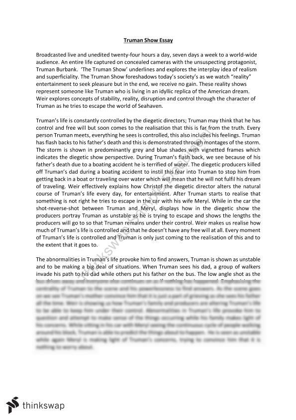 Truman show essays