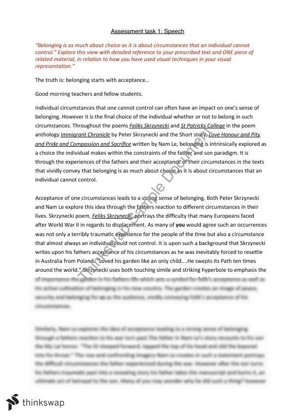 Belonging Speech | Year 12 HSC - English (Advanced) | Thinkswap