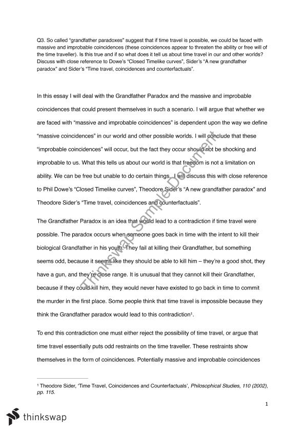 grandfather paradox essay phil reality time possibilty  grandfather paradox essay