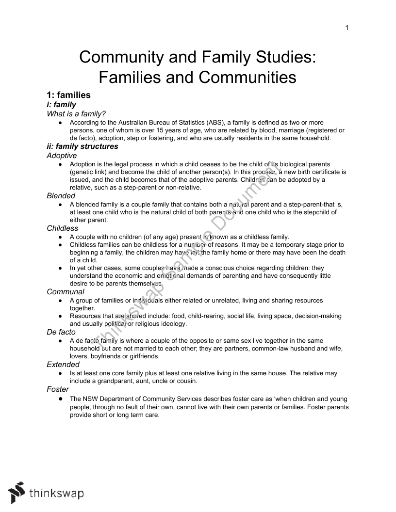 Community and Family Studies: Families and Communities