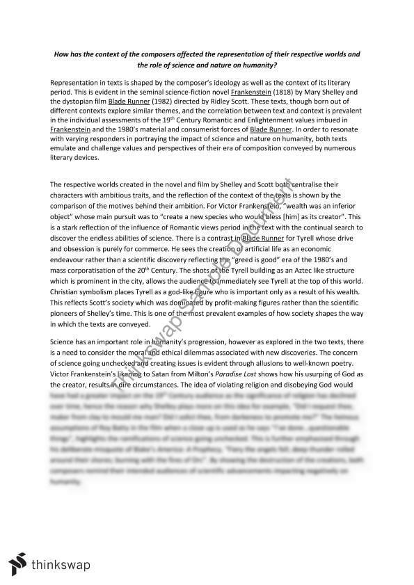 Frankenstein And Blade Runner  Essay  Custom Paper Example    Frankenstein And Blade Runner  Essay