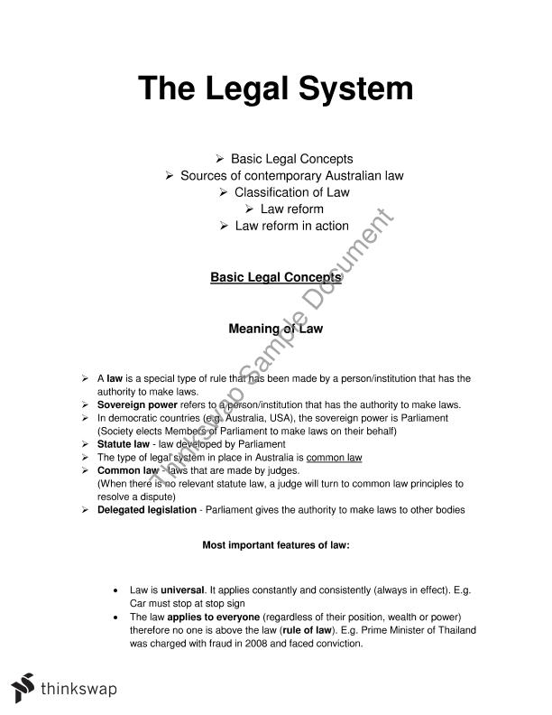 The Legal System | Year 11 HSC - Legal Studies | Thinkswap