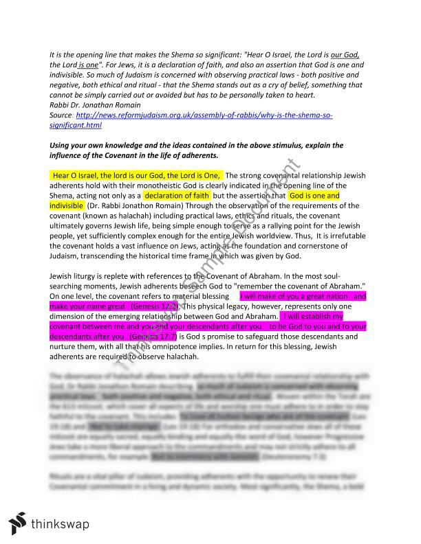 covenant in judaism essay year hsc studies of religion ii  covenant in judaism essay