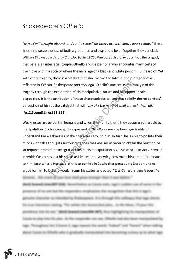 othello coleridge essay Coleridge suggests similar documents to othello essay (shakespeare) othello is a dramatic and engaging play.