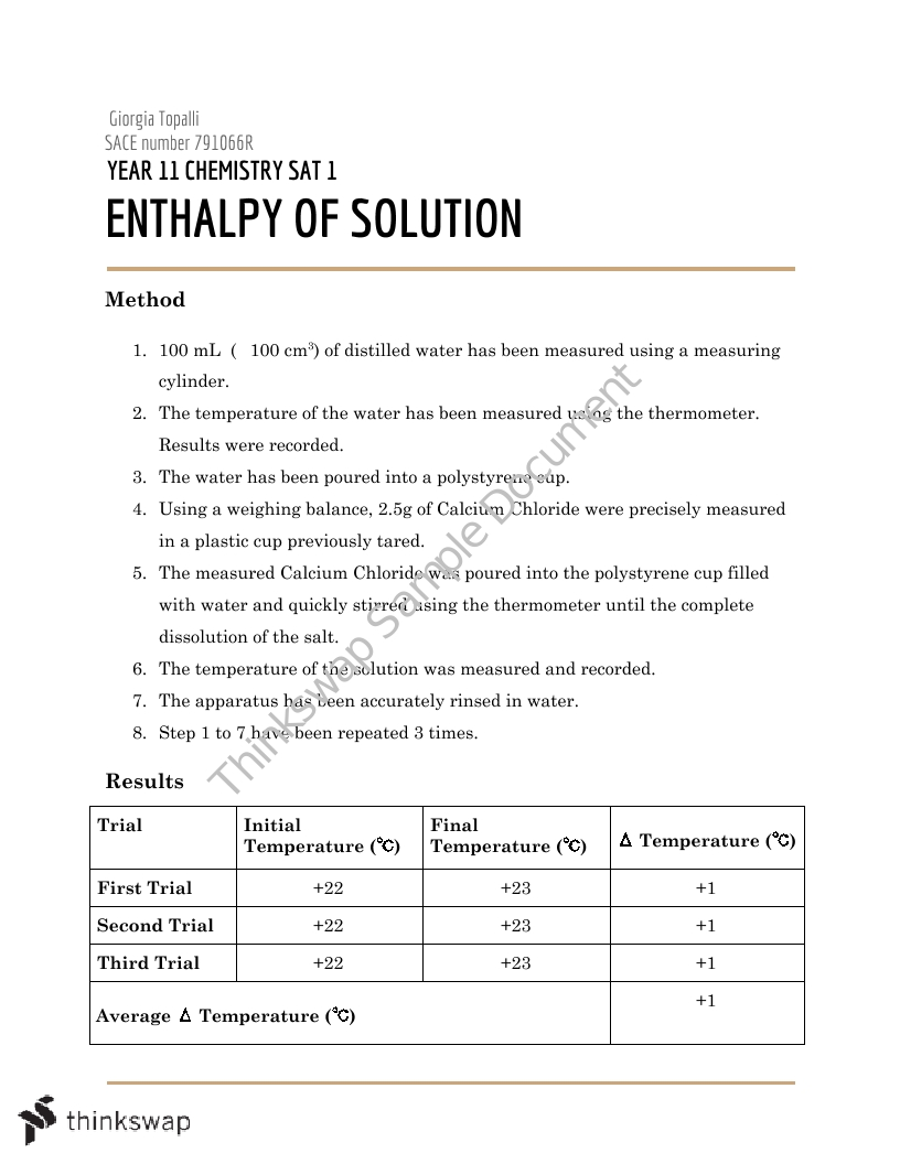 Enthalpy Of A Solution   Chemistry - Year 11 SACE   Thinkswap