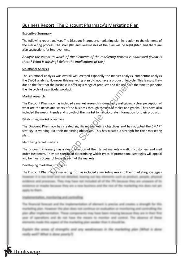 Marketing plan report