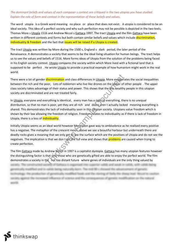 Utopia gattaca essay year 11 hsc english advanced thinkswap