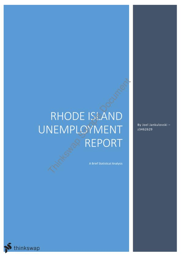 ACTL2131 2014 Assignment; Statistical Analysis of Unemployment Figures