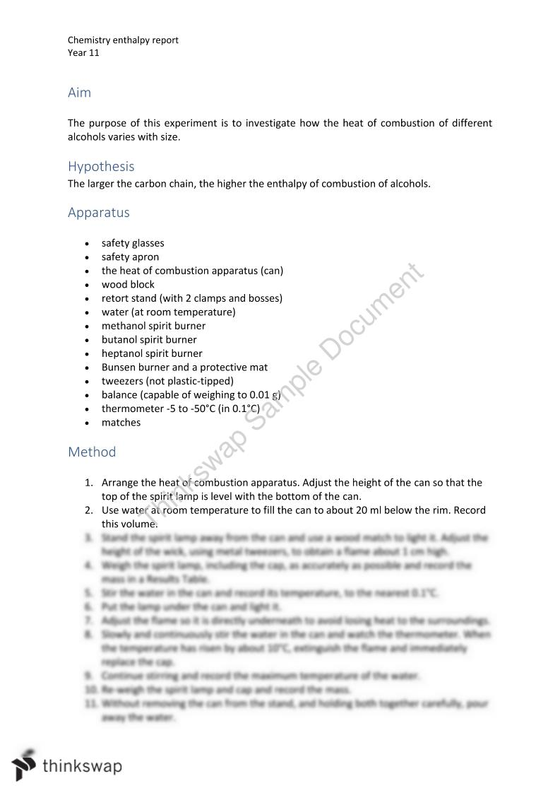 Chemistry enthalpy report   Chemistry - Year 11 SACE ...