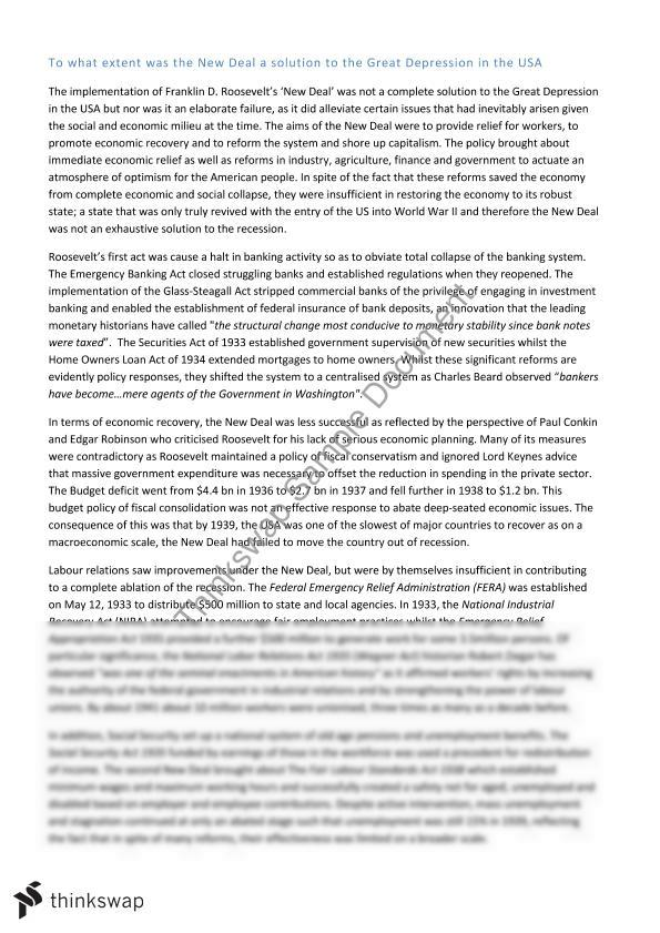 evaluation of the new deal essay Determination in 1939 why or why not evaluation • essay question: how did the indian reorganization act represent both continuity and change for the havasupai use the key vocabulary in your essay answer what can be learned from this new deal experience that can help us make better decisions in the present.