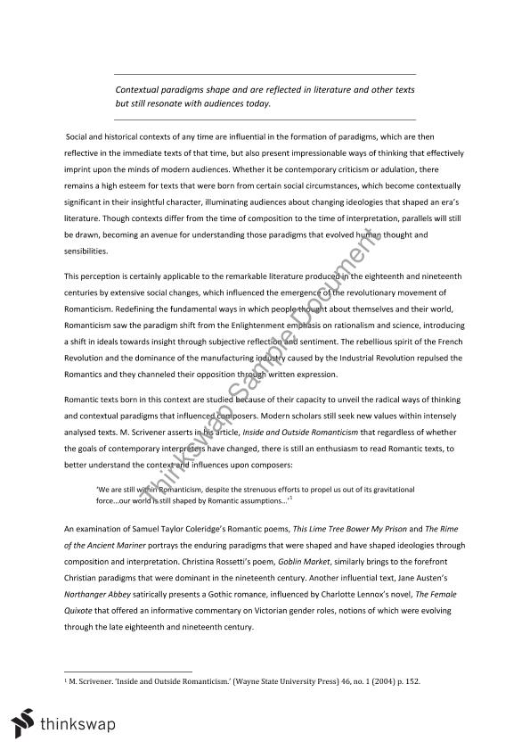 Romanticism essay introduction