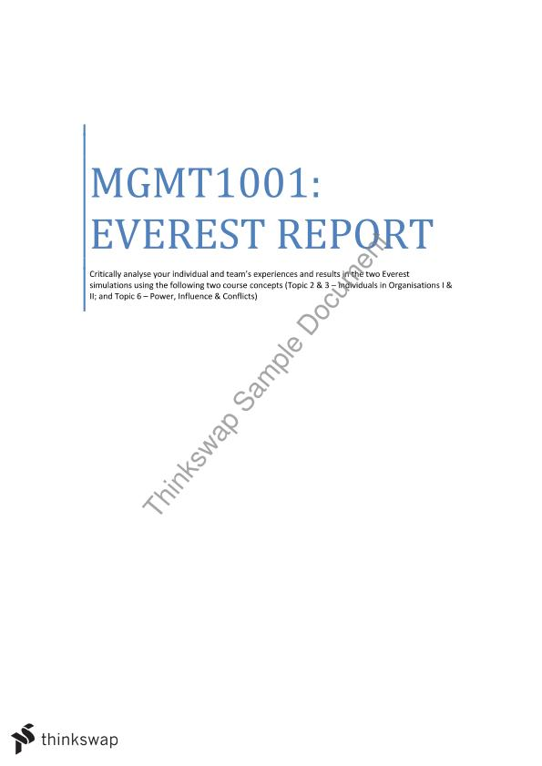 mgmt1001 everest essay