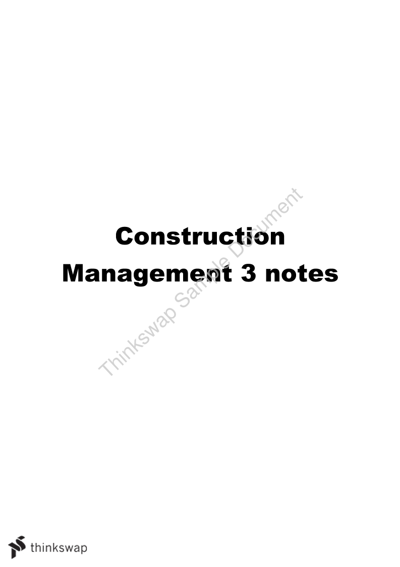 Construction Management 3 - All specific outcomes