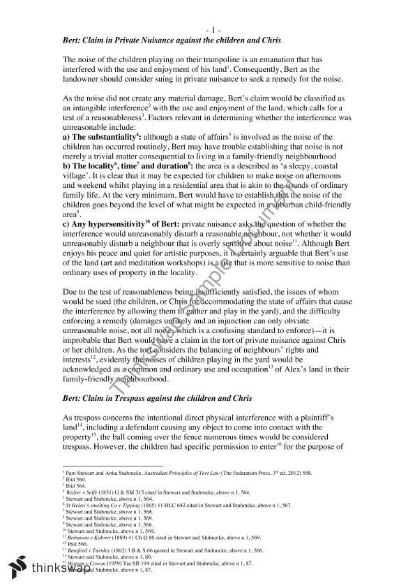 LLB240 Problem Question Answer | LLB2240 - Law of Torts