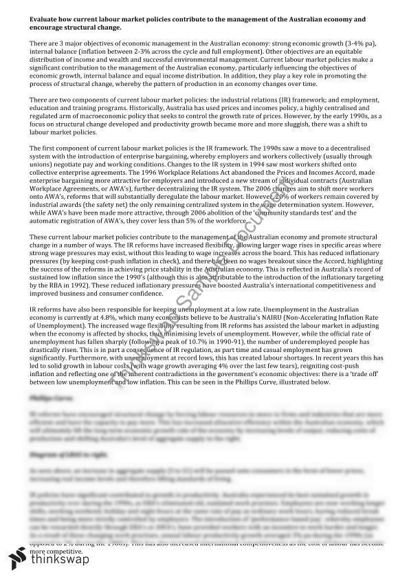 HSC Economics Labour Market Policies Essay   Year 12 HSC ...