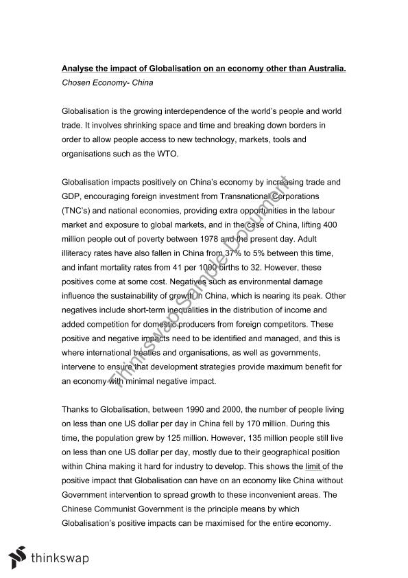 globalization economy essay The globalization of the world economy - is the conversion of international space into one whole, where there are no set boundaries for informational technologies.