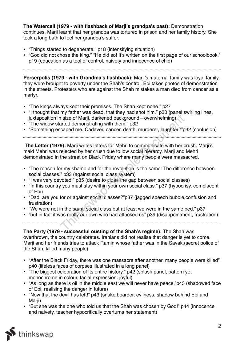 Persepolis Final Exam Revision Sheet Year 12 Vce English Esl Thinkswap