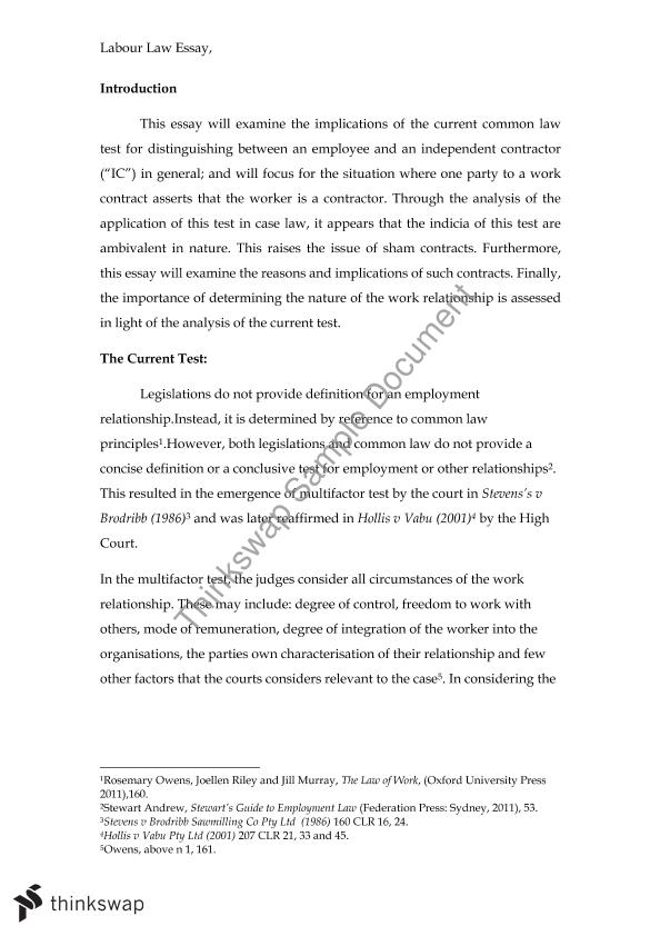 English Essay Topics Labor Law Essay Employees V Contractors How To Write Science Essay also Buy An Essay Paper Labor Law Essay Employees V Contractors    Labour Law  An Essay On English Language