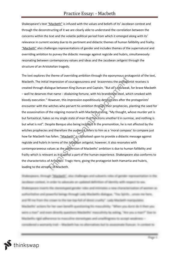 Essay Of Macbeth  Elitamydearestco Macbeth Essay Year  Hsc English Advanced Thinkswap