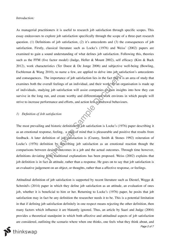 essay on job satisfaction Essay on nursing: job satisfaction and quality of work life - a job is a contractual relationship between an employer and employee with set guidelines that entail pay.
