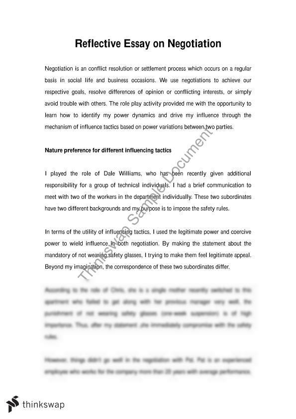 sample reflection paper negotiation essay