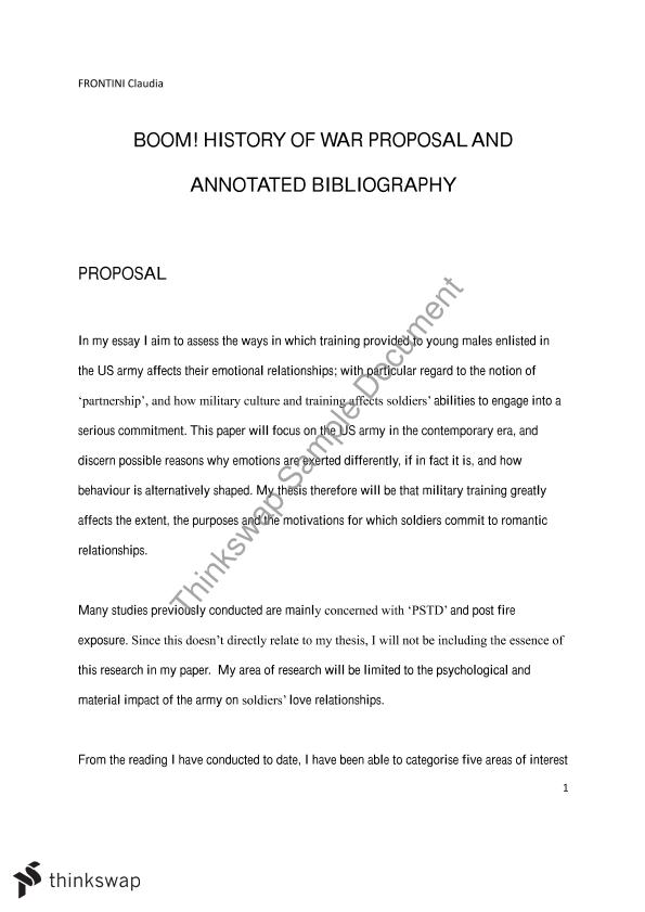 proposal and annotated bibliography examples