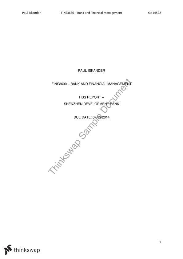 Bank Financial Management Assignment | FINS3630 - Bank