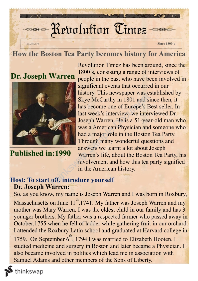 Free Boston Tea Party Essays and Papers | Help Me