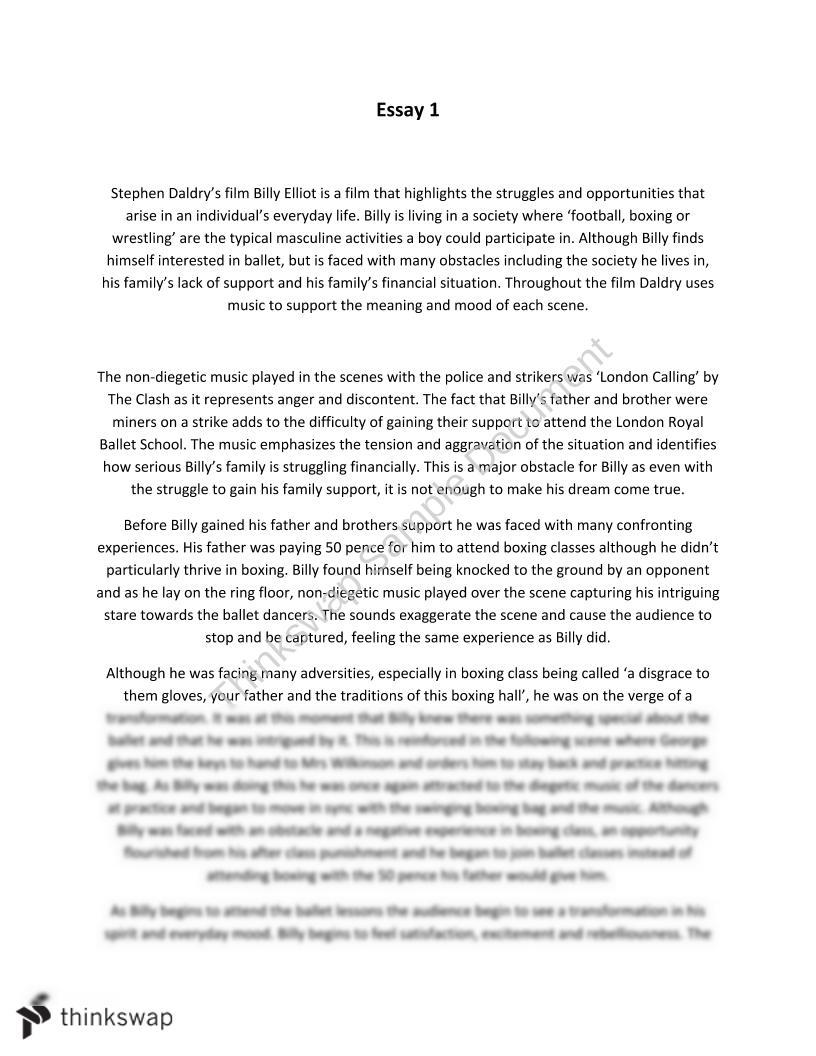 Billy elliot essay