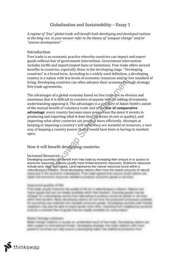 Globalization essay topics