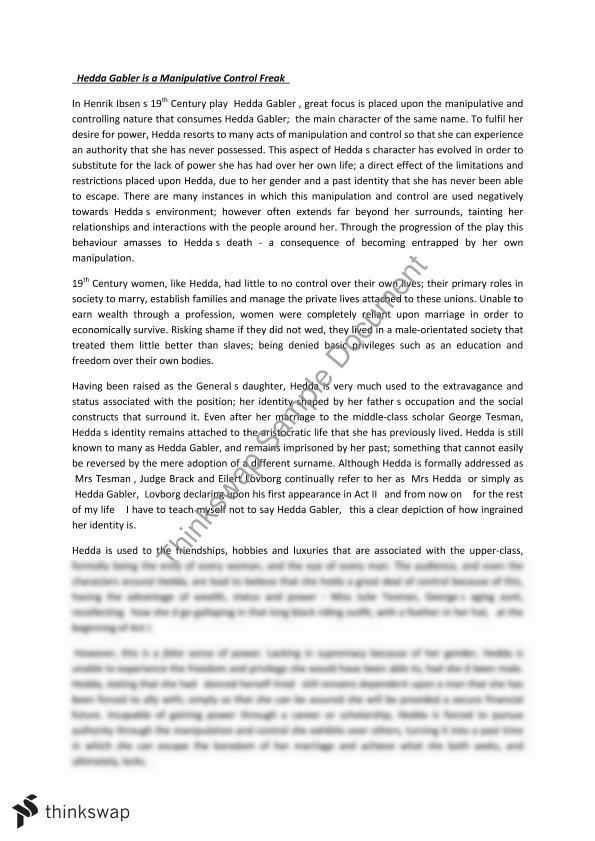 Hedda gabler essay
