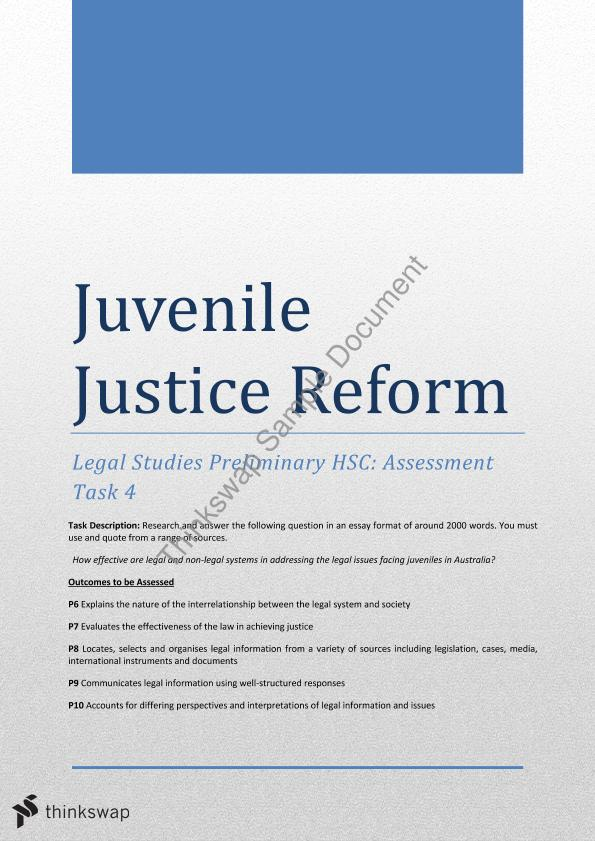preliminary essay the effectiveness of the juvenile justice preliminary essay the effectiveness of the juvenile justice system in