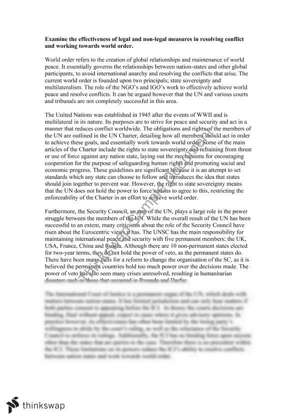 world order essay essay Nonetheless, as highlighted by the international humanitarian intervention in march 2011, nation states play a pivotal role in achieving world order whilst nation states have a responsibility to protect, state sovereignty ultimately hinders the achievement of world order.