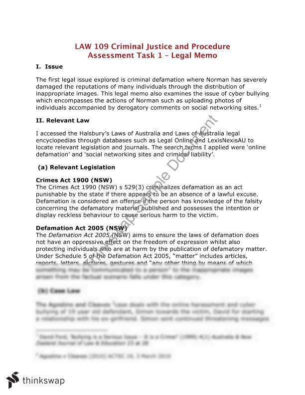 LAW109 Assessment Task 1 - Legal Memo | Law109 - Criminal Law ...