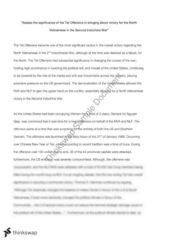 Essay Health Care Assess The Significance Of The Tet Offensive In Bringing About Victory For  The North Vietnamese In Essay Paper also Research Essay Thesis Statement Example Assess The Significance Of The Tet Offensive In Bringing About  My School Essay In English