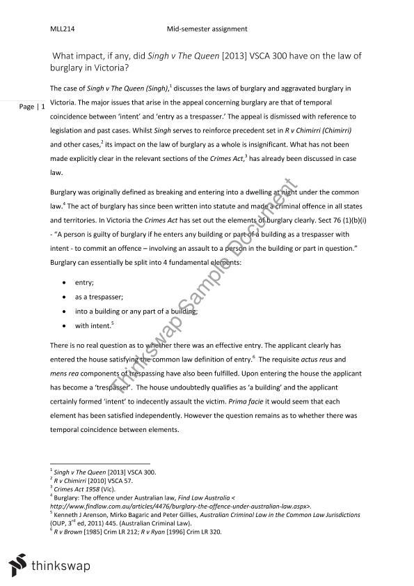 Burglary essay