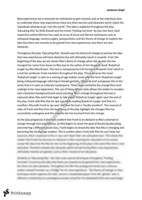 into the world educating rita and finding forrester essay year  into the world educating rita and finding forrester essay