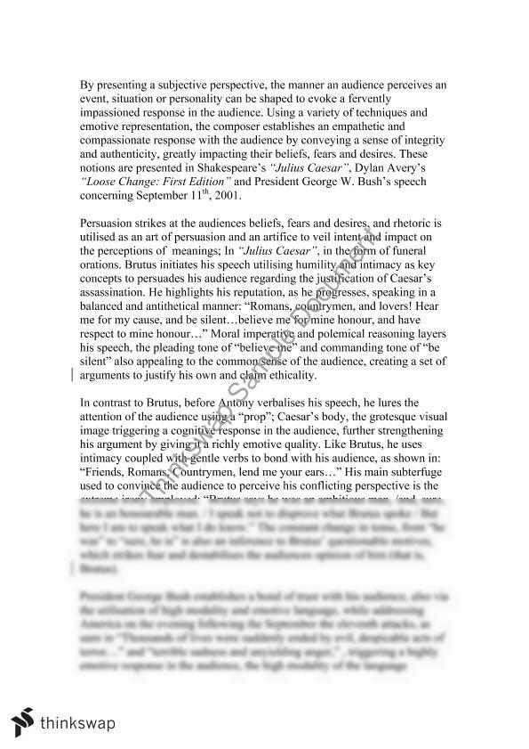 essays on julius caesar conflicting perspectives Band 6 essay for julius caesar/ conflicting perspectives module with one related text.