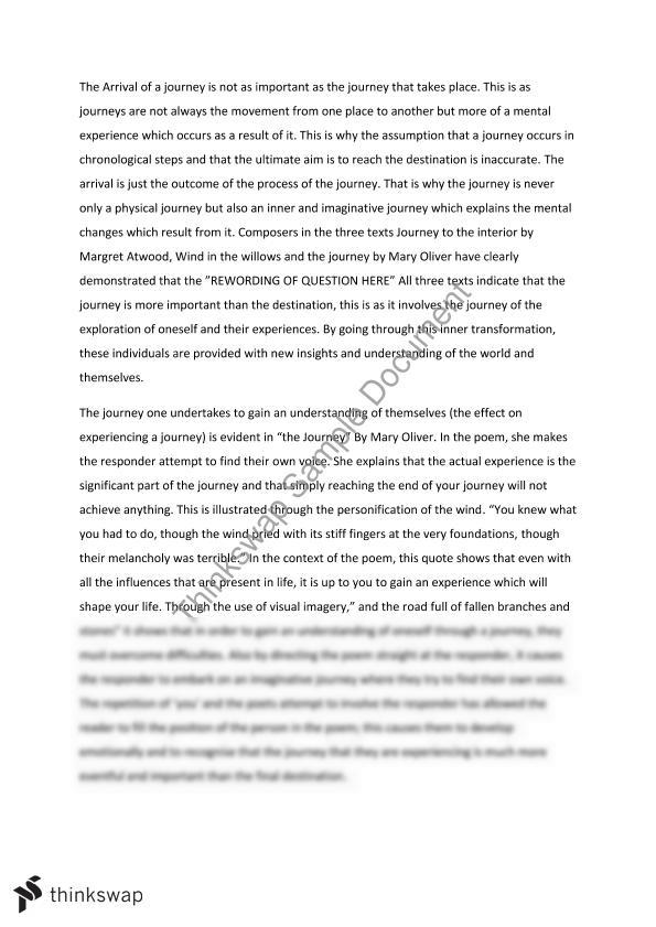 english essays on journeys Ap® english literature 2006 scoring guidelines  (significant journeys)  well-written essays identify a physical journey in a novel,.