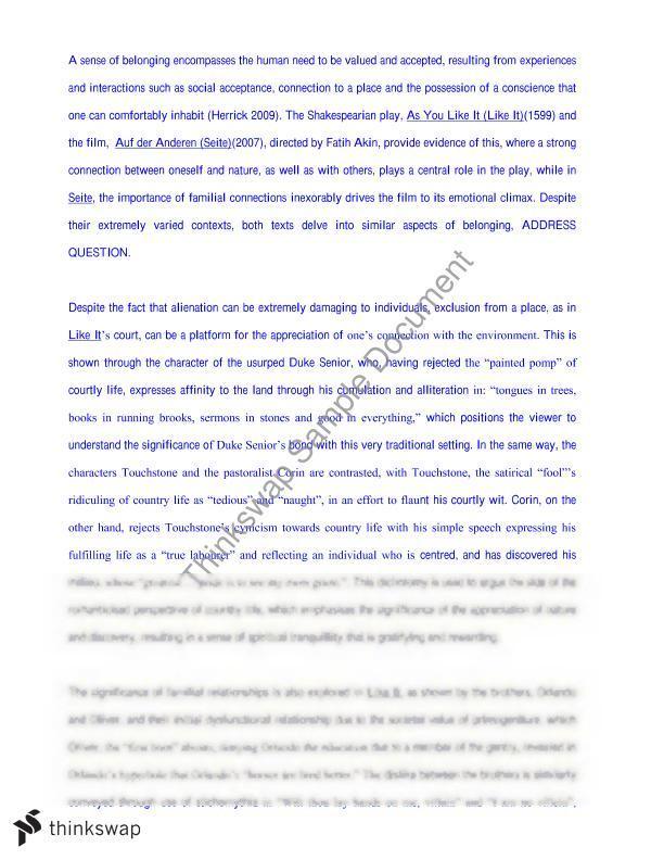 Belonging Essay | Year 12 HSC - English (Advanced) | Thinkswap