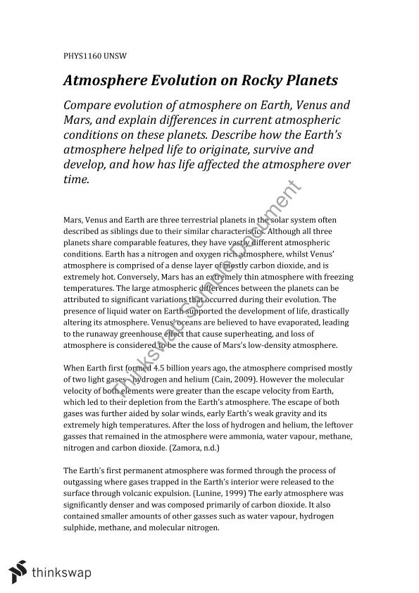 atmospheric evolution of rocky planets phys introduction  atmospheric evolution of rocky planets
