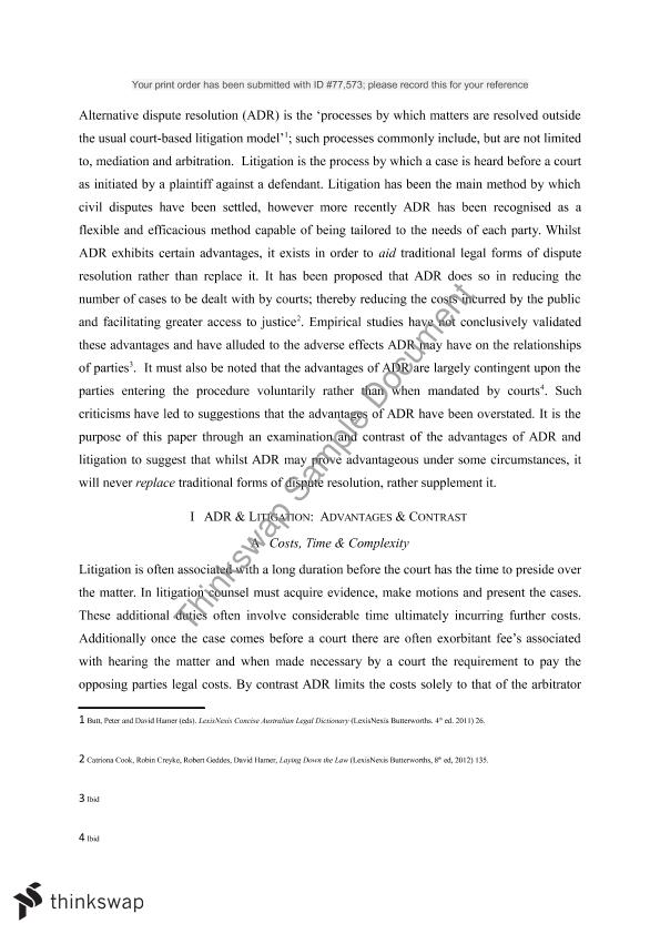 alternative dispute resolution essay lw alternative dispute  alternative dispute resolution essay