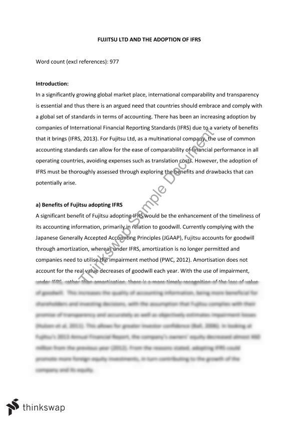 gaap and ifrs research paper A comprehensive case study: us gaap conversion to ifrs  katherine, a comprehensive case study: us gaap conversion to ifrs  howe school research paper no 2013-1.