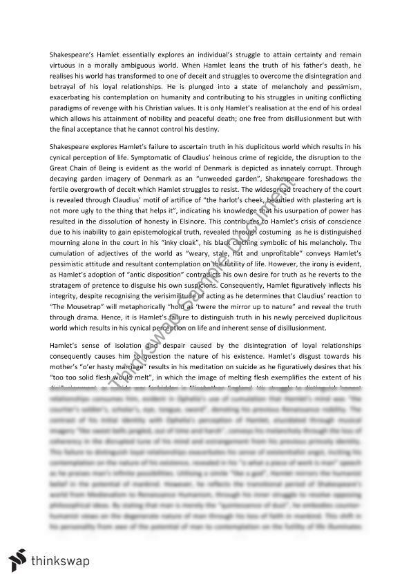 Hamlet literary analysis essay