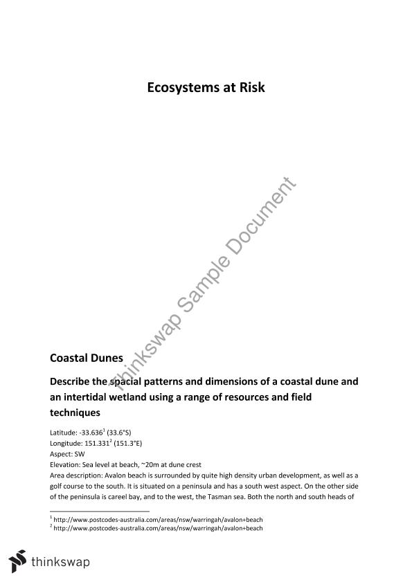 Ecosystems at risk essay