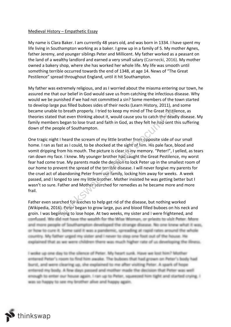 Empathetic Essay - Bubonic Plague - Page 1