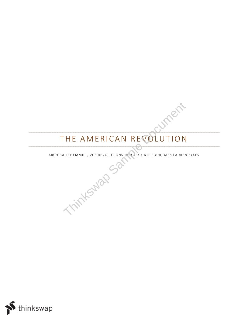 The American Revolution - AtarNotes  - Page 1