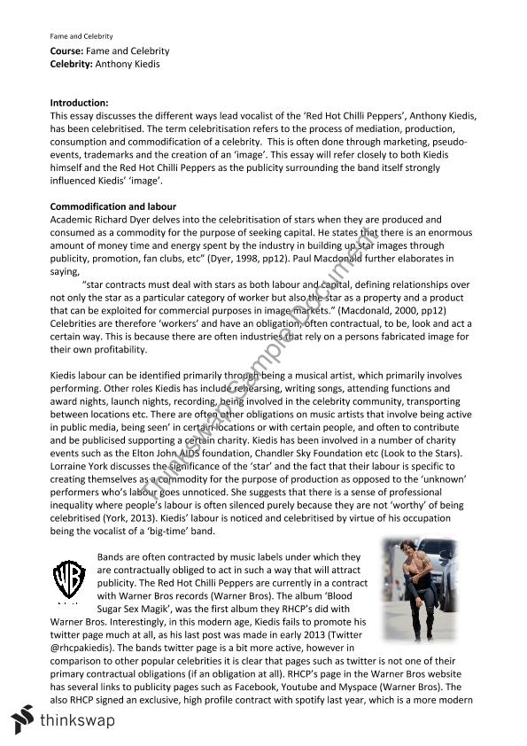 fame and celebrity essay on anthony kiedis hum culture  fame and celebrity essay on anthony kiedis