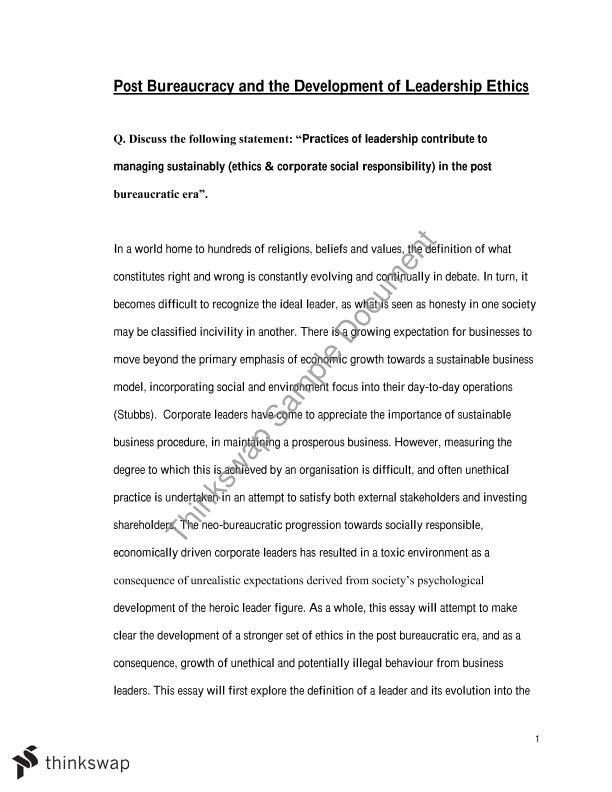 MPO Essay 2 - Managing Leadership, Ethics and CSR (High ...